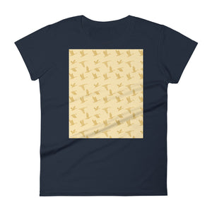 Flying Birds Pattern | Yellow | Women's Short-Sleeve T-Shirt-t-shirts-Navy-S-Eggenland