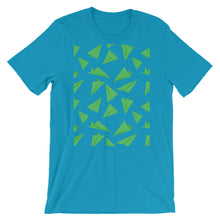 Load image into Gallery viewer, Paper Planes Pattern | Green | Short-Sleeve Unisex T-Shirt-t-shirts-Aqua-S-Eggenland