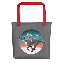 Load image into Gallery viewer, Together We Are Faster | Dog, Cat and Mouse | Dark Grey | Tote Bag-tote bags-Red-Eggenland