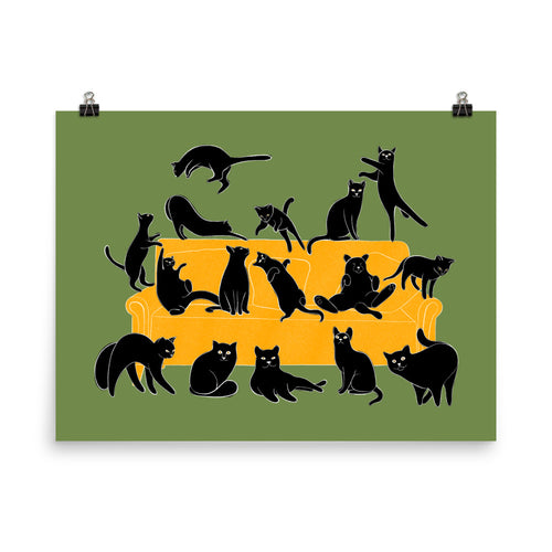 Black Cats Party | Green | Illustration | Poster-posters-Eggenland