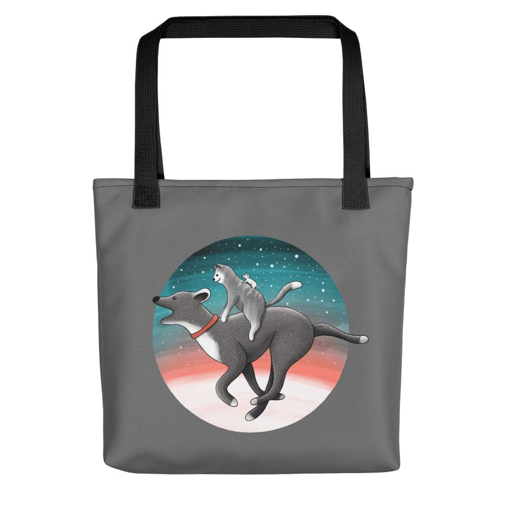 Together We Are Faster | Dog, Cat and Mouse | Dark Grey | Tote Bag-tote bags-Black-Eggenland