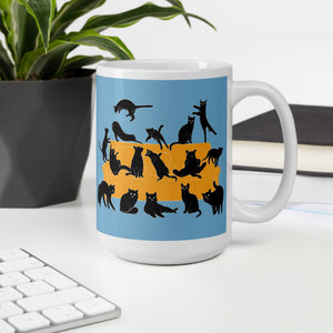 Black Cats Party | Blue | Mug-mugs-Eggenland