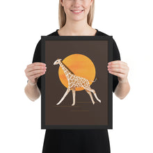 Load image into Gallery viewer, Giraffe and Sun | Illustration | Brown | Framed Posters-framed posters-Black-12×16-Eggenland