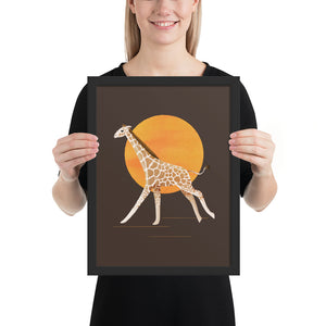 Giraffe and Sun | Illustration | Brown | Framed Posters-framed posters-Black-12×16-Eggenland