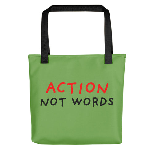 Action Not Words | Green | Tote Bag-tote bags-Black-Eggenland