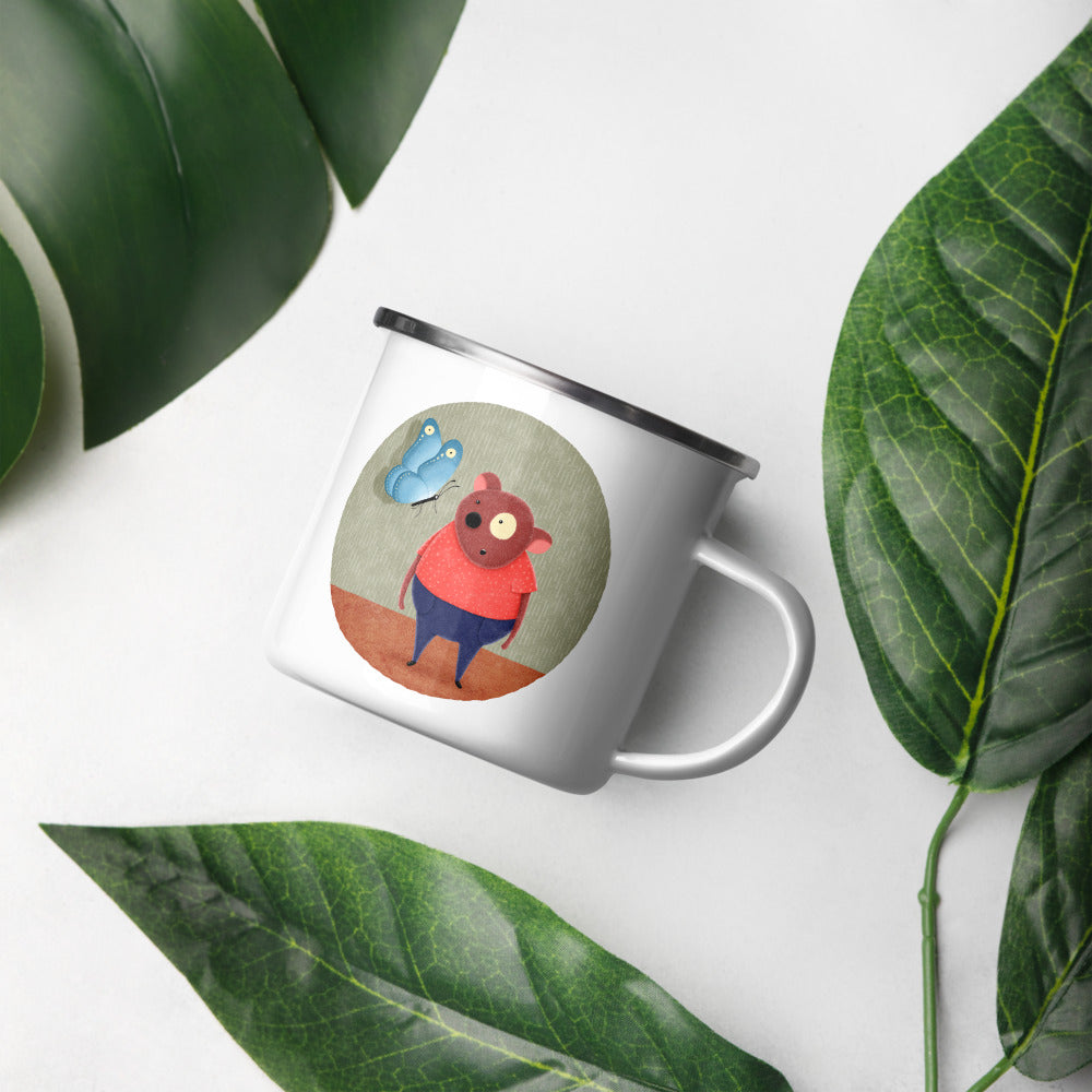 Bear and Butterfly | Enamel Mug-enamel mugs-Eggenland