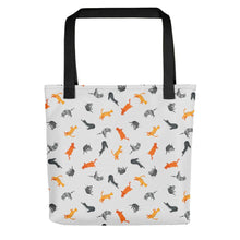 Load image into Gallery viewer, Funky Cats Pattern | Light Grey | Tote Bag-tote bags-Black-Eggenland