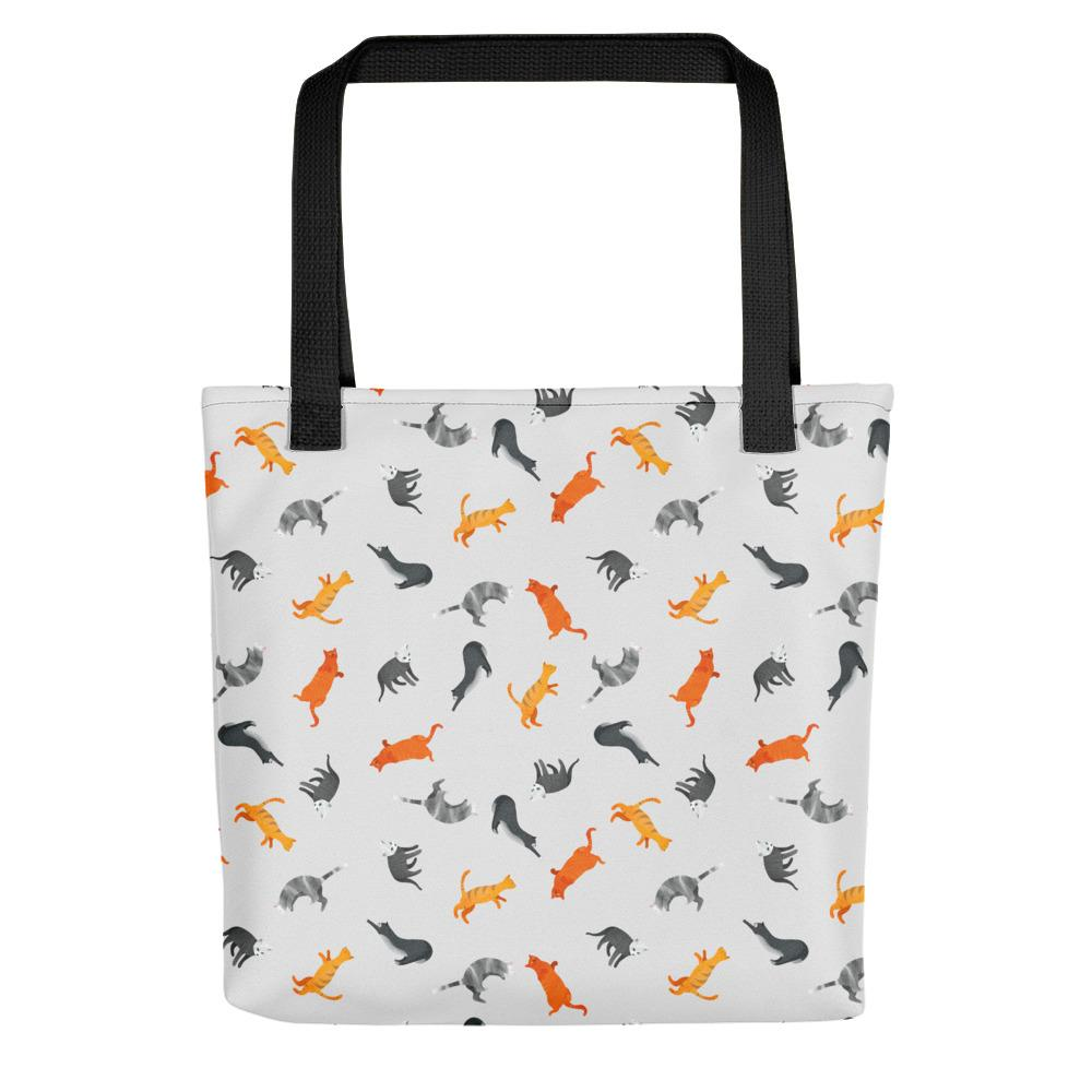 Funky Cats Pattern | Light Grey | Tote Bag-tote bags-Black-Eggenland
