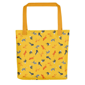Funky Cats Pattern | Yellow | Tote Bag-tote bags-Yellow-Eggenland