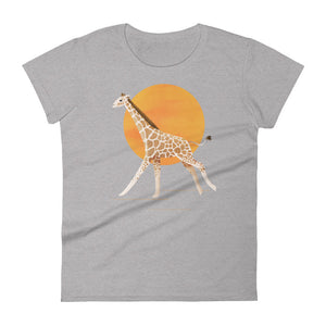 Giraffe and Sun | Women's Short-Sleeve T-Shirt-t-shirts-Heather Grey-S-Eggenland