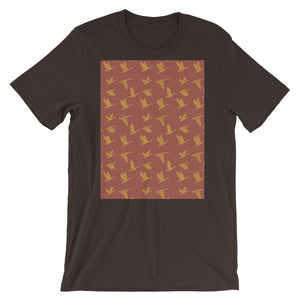 Flying Birds Pattern | Red | Short-Sleeve Unisex T-Shirt-t-shirts-Brown-S-Eggenland