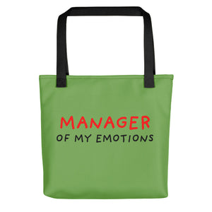 Manager of My Emotions | Green | Tote Bag-tote bags-Black-Eggenland