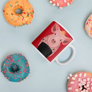 Cool Pig With Tattoos | Red | Mug-mugs-Eggenland