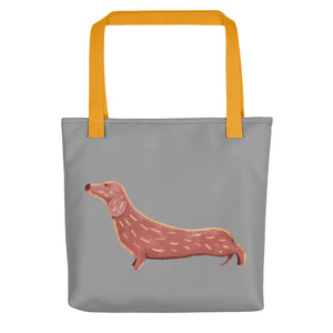 Cute Dachshund Dog | Grey | Tote Bag-tote bags-Yellow-Eggenland