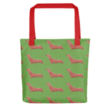 Load image into Gallery viewer, Dachshund Dog Pattern | Light Green | Tote Bag-tote bags-Red-Eggenland
