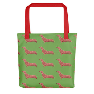 Dachshund Dog Pattern | Light Green | Tote Bag-tote bags-Red-Eggenland