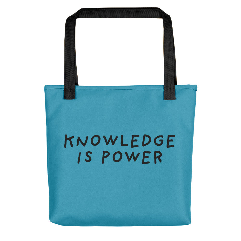 Knowledge Is Power | Blue | Tote bag-tote bags-Black-Eggenland