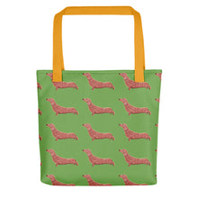 Load image into Gallery viewer, Dachshund Dog Pattern | Light Green | Tote Bag-tote bags-Yellow-Eggenland