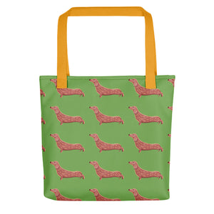 Dachshund Dog Pattern | Light Green | Tote Bag-tote bags-Yellow-Eggenland