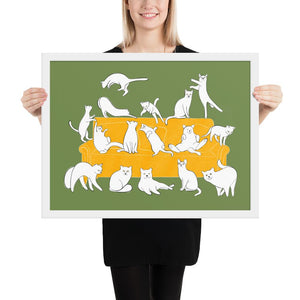 Cats Party | Illustration | Green | Framed Poster-framed posters-White-18×24-Eggenland