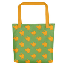 Load image into Gallery viewer, Yellow Cat Pattern | Green | Tote Bag-tote bags-Yellow-Eggenland