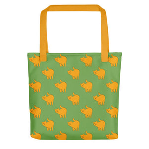 Yellow Cat Pattern | Green | Tote Bag-tote bags-Yellow-Eggenland