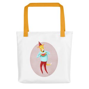 Dog with Watermelon | Tote Bag-tote bags-Yellow-Eggenland