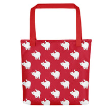 Load image into Gallery viewer, Cute Cat Pattern | Red and White | Tote Bag-tote bags-Red-Eggenland
