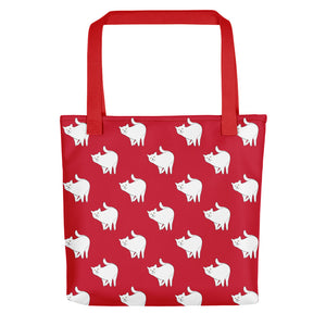 Cute Cat Pattern | Red and White | Tote Bag-tote bags-Red-Eggenland
