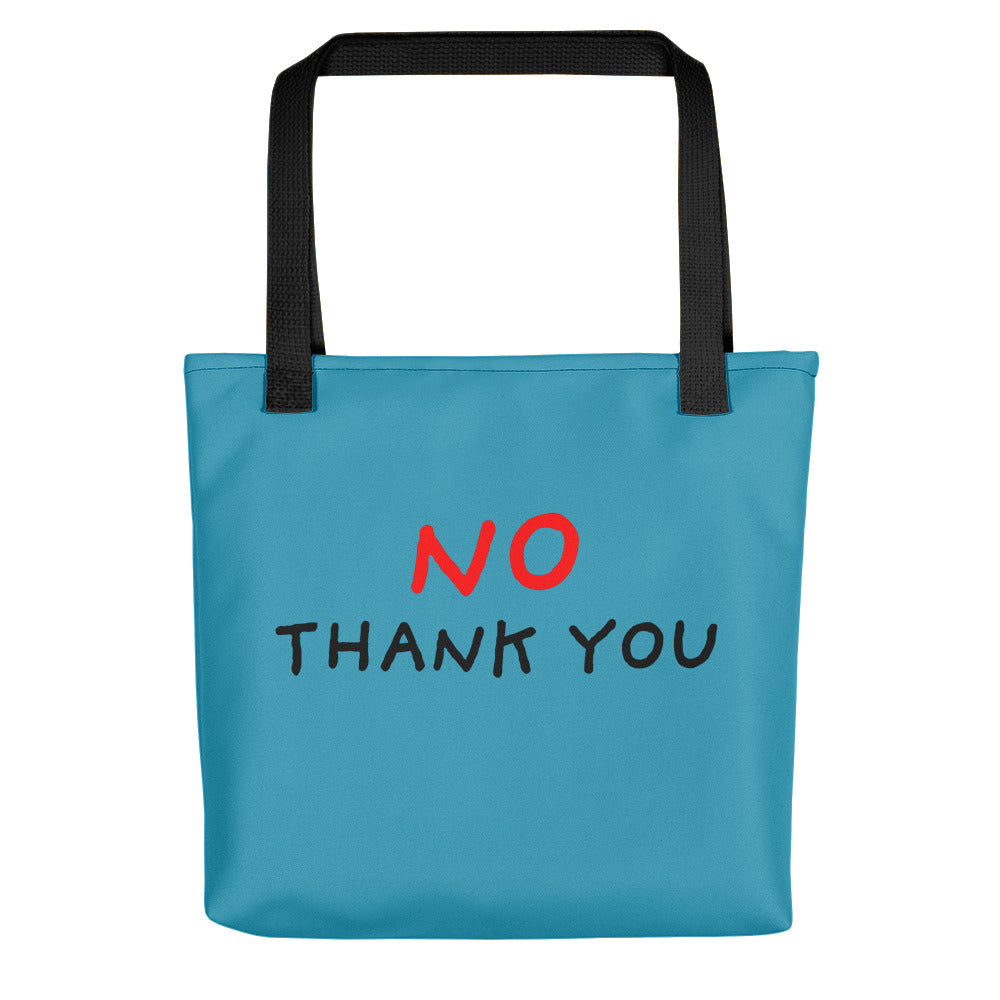 No Thank You | Blue | Tote Bag-tote bags-Black-Eggenland