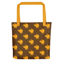 Load image into Gallery viewer, Yellow Cat Pattern | Brown | Tote Bag-tote bags-Yellow-Eggenland