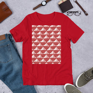Paper Hats Pattern | Red | Short-Sleeve Unisex T-Shirt-t-shirts-Eggenland