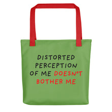Load image into Gallery viewer, Distorted Perception | Green | Tote Bag-tote bags-Red-Eggenland