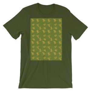 Flying Birds Pattern | Green | Short-Sleeve Unisex T-Shirt-t-shirts-Olive-S-Eggenland