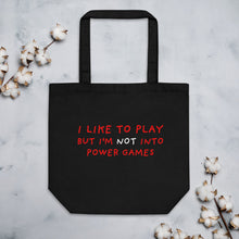 Load image into Gallery viewer, Power Games | Eco Tote Bag-tote bags-Black-Eggenland