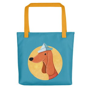 Dog with Paper Hat | Blue | Tote Bag-tote bags-Yellow-Eggenland