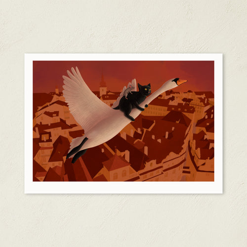 Swan, Cat and Mouse Flying Above Prague | Illustration | Art Print-art print-A4-Eggenland
