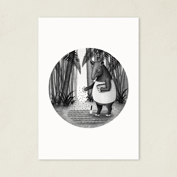 Tapirs Are Gardeners Of Forest | Black and White Illustration | Art Print-art print-A4-Eggenland