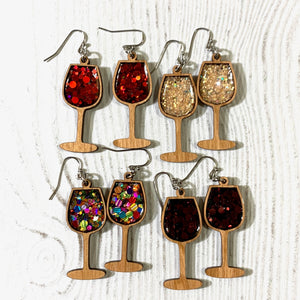 Wine Wooden Glitter Earrings