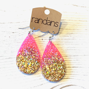 Pink and Gold Large Frameless Dangle