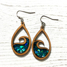 Load image into Gallery viewer, The Wave glitter wooden dangle