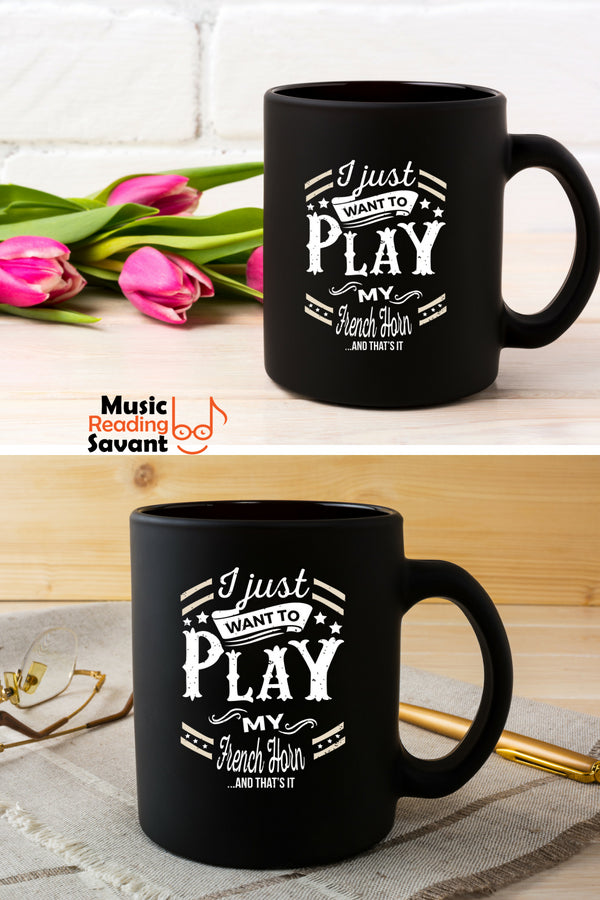 French Horn Play Coffee Mug Black