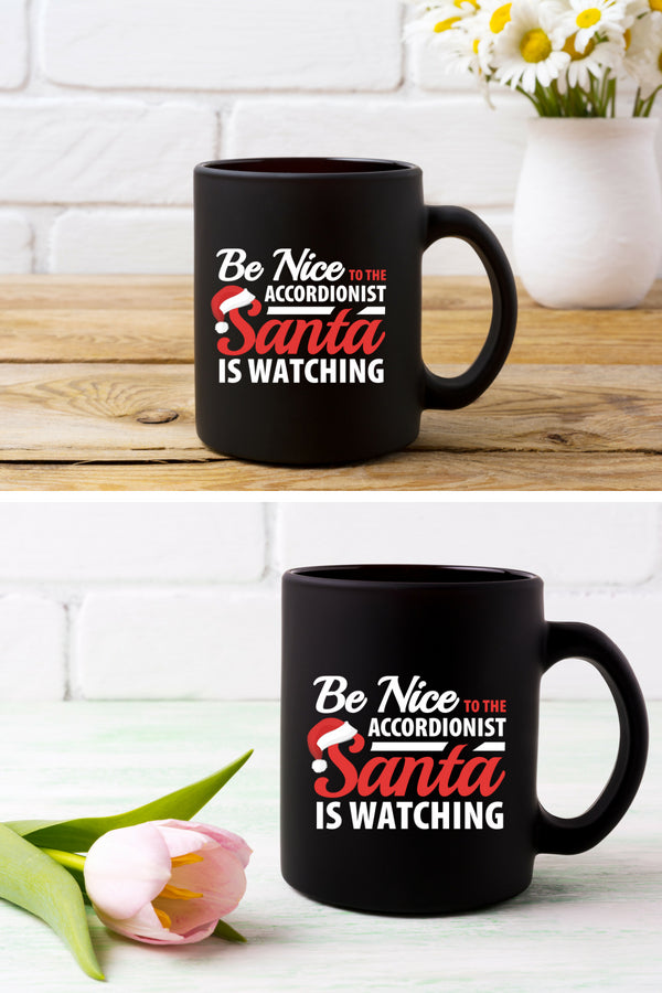 Accordionist Santa Coffee Mug Black