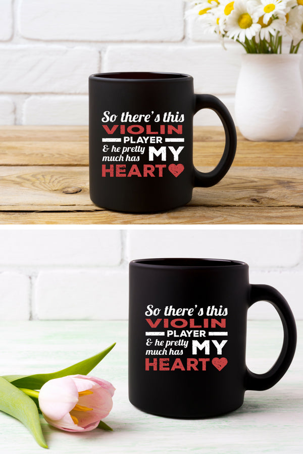 Violin Player Heart Coffee Mug Black