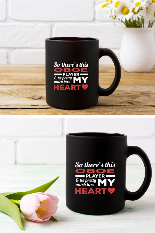 Oboe Player Heart Coffee Mug Black