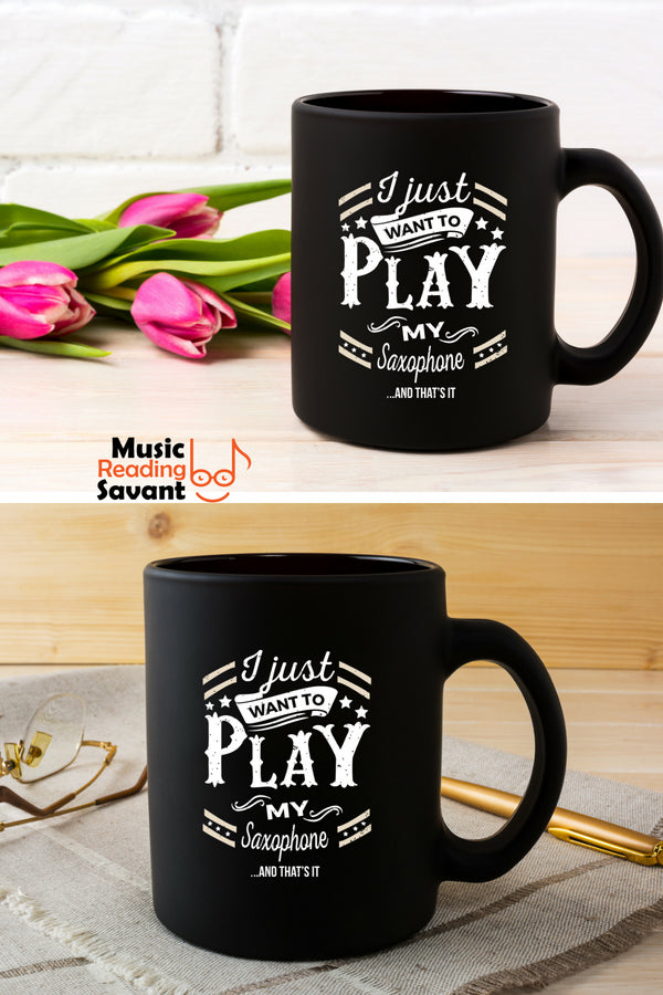 Saxophone Play Coffee Mug Black
