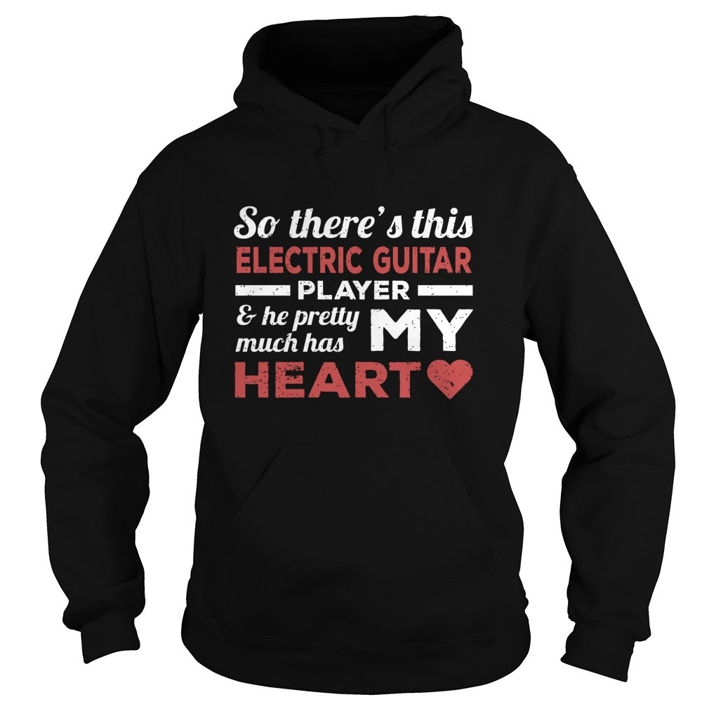 Electric Guitar Player Heart Hoodie