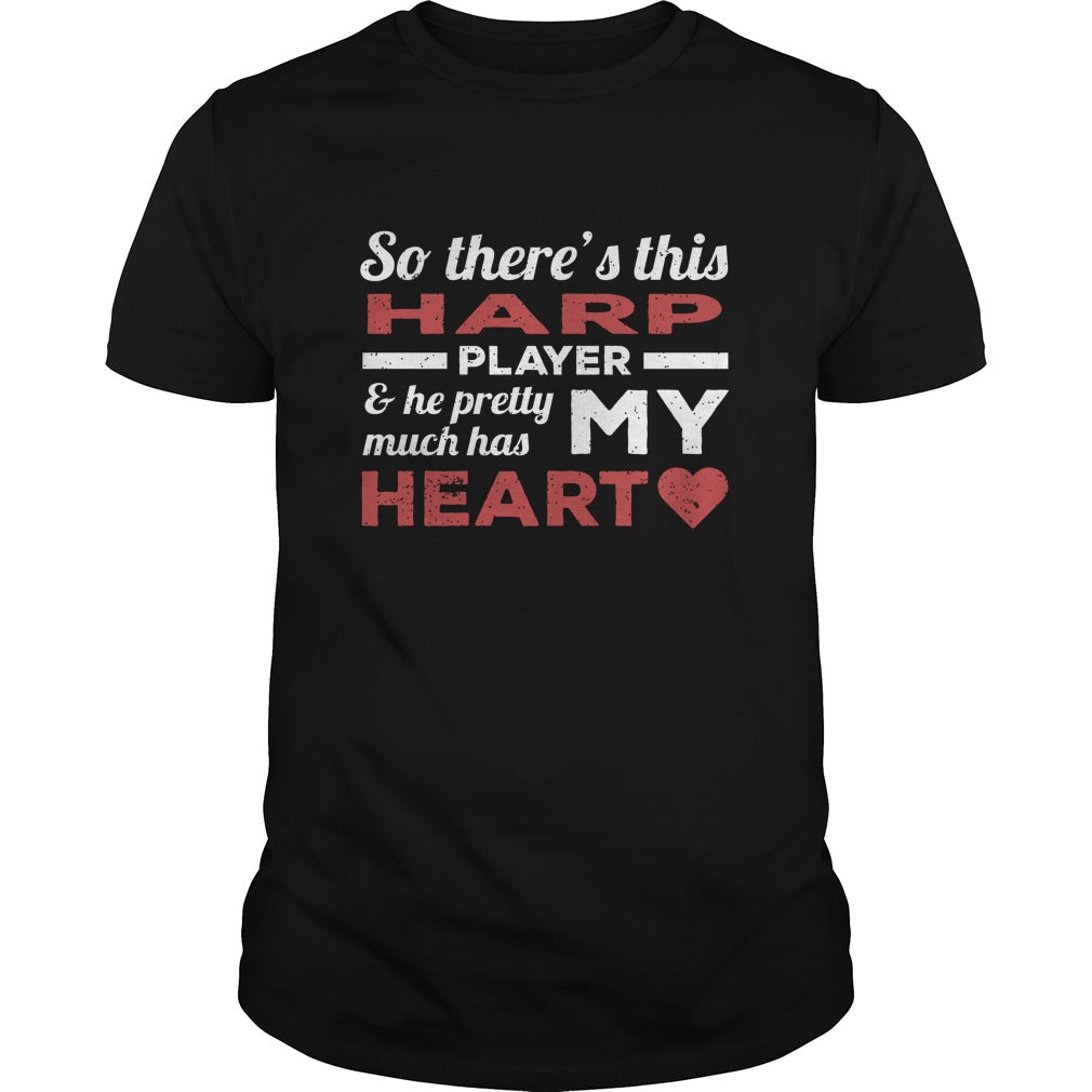 Harp Player Heart Men's T-Shirt