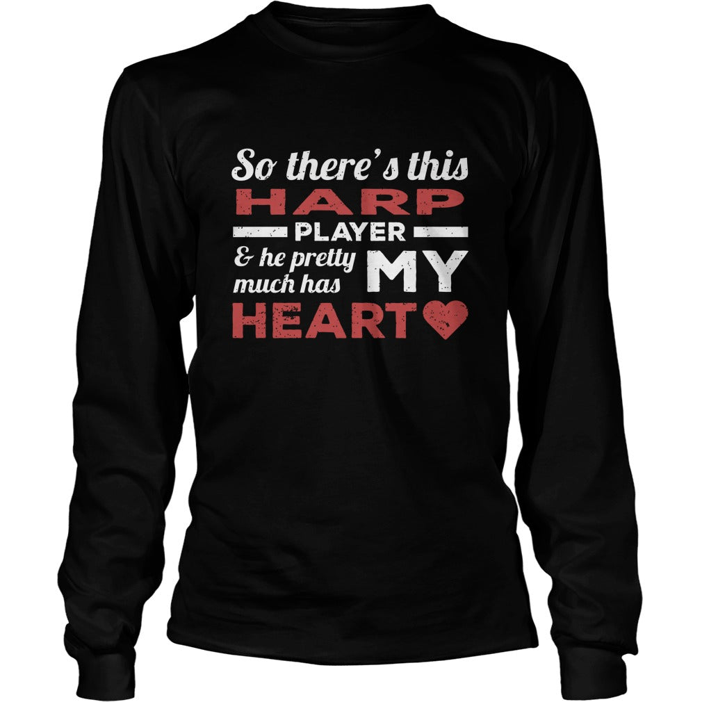 Harp Player Heart Unisex Longsleeve T-Shirt