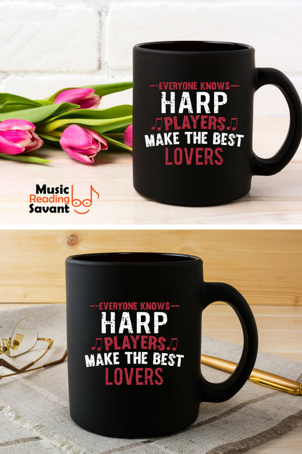 Harp Players Lovers Coffee Mug Black